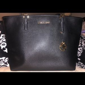 Large black Michael Kors saffiano leather tote